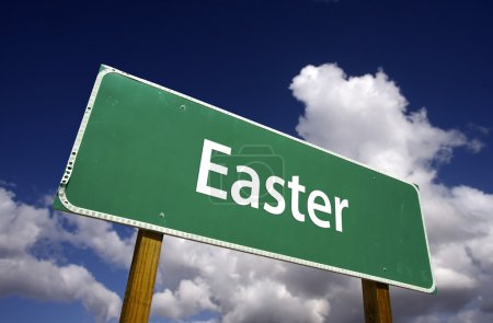 Easter Road Sign on Clouds