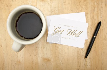 Photo for Get Well Note Card, Pen and Coffee Cup on Wood Background. - Royalty Free Image