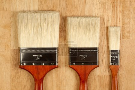 Three Different Sized New Paint Brushes