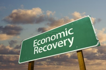 Economic Recovery Green Road Sign