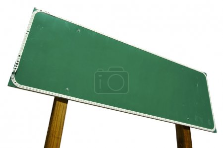Photo for Blank Road Sign Isolated on White with Clipping Path Ready for Your Own Message. - Royalty Free Image