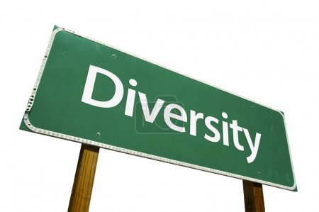 Diversity Green Road Sign on White