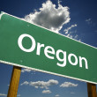 Oregon Road Sign with dramatic clouds and sky....