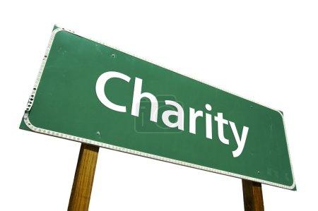 Photo pour Panneau de signalisation de charité isolé sur blanc. - image libre de droit