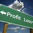 Profit, Loss Green Road Sign Over Dramatic Blue Sk...