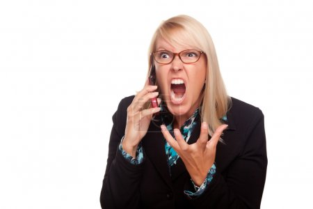 Photo for Angry Woman Yells While On Cell Phone Isolated on a White Background. - Royalty Free Image