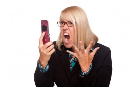 Angry Woman Yells At Cell Phone Isolated