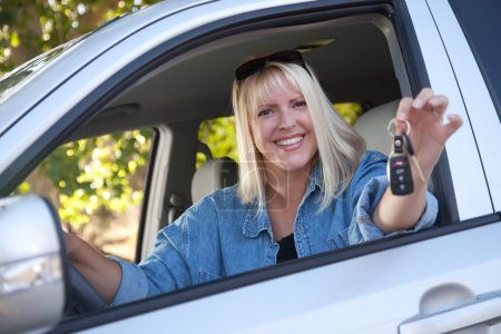 Photo for Attractive Happy Woman In New Car with Keys. - Royalty Free Image