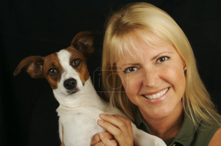 Attractive Woman & jack Russell Dog