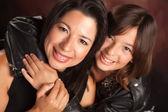 Attractive Hispanic Mother & Daughter Studio Embrace