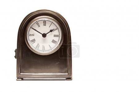Stylish Vintage Antique Clock Isolated on a Whit