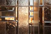 Beautiful Beveled Glass Window with Warm Reflect