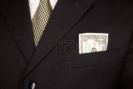 United Stated Dollar Bill in Businessman Coat Pocket