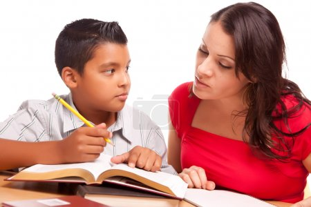 Hispanic Mother and Son Do Homework