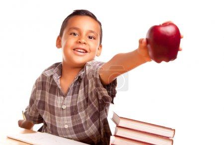 Adorable Hispanic Boy with Apple