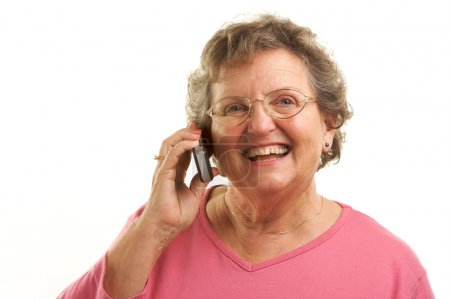 Happy Senior Woman Using Cell Phone
