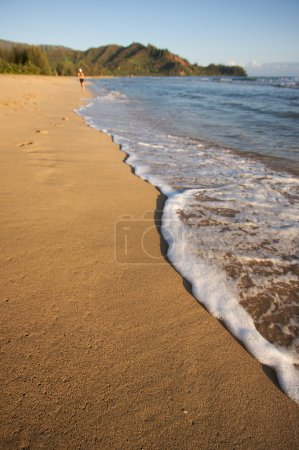 Photo for Beach Shoreline in the Early Morning Sun with Jogger. - Royalty Free Image