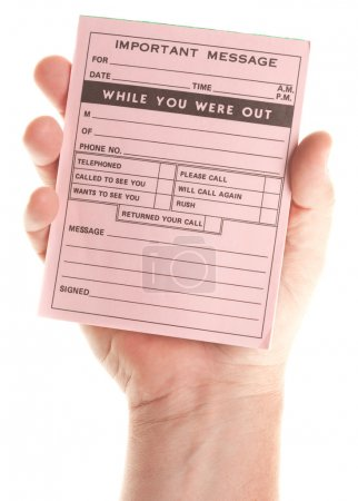 Male Hand Holding Blank Pink Message Pad