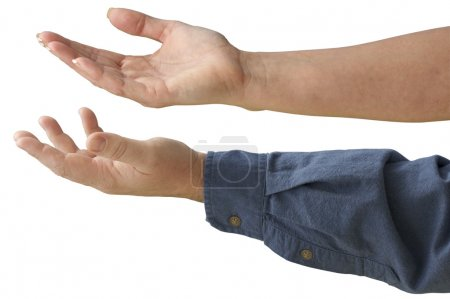 Photo for Male & Female hands outreached - contains clipping path - Royalty Free Image