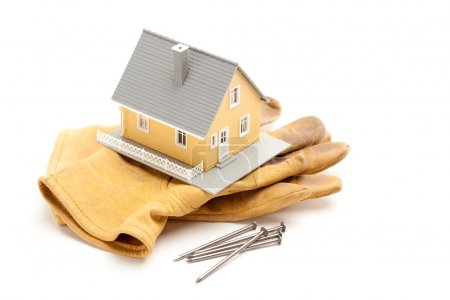 House, Gloves and Nails on White