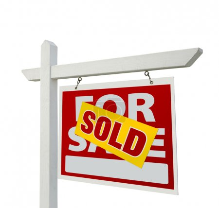 Sold Real Estate Sign on White