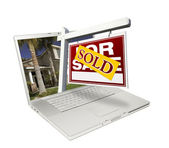 Sold Real Estate Sign on Laptop