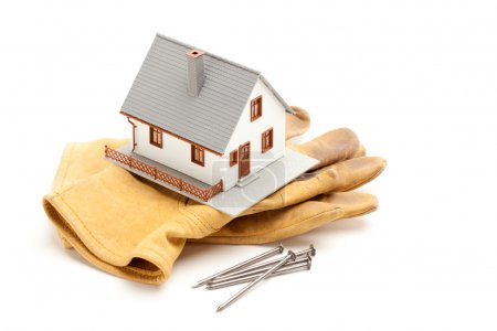 House, Gloves, Nails Isolated on White