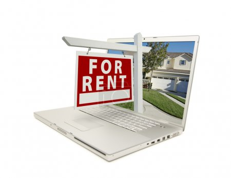 Photo for For Rent Sign & New Home on Laptop isolated on a white Background. - Royalty Free Image