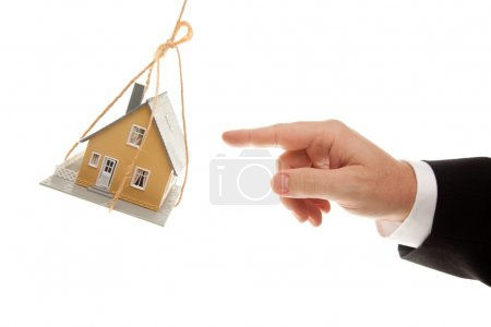 Man Hand Reaching or Pushing House