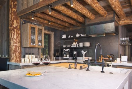 Fully Equipped Log Cabin Kitchen