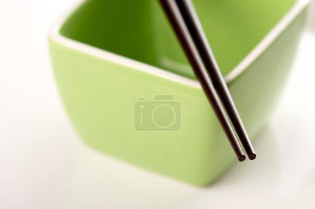 Chopsticks & Green Bowl