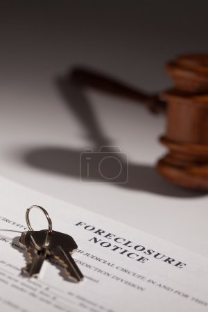 Foreclosure Notice, Gavel and House Keys