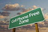 Cell Phone Free Zone Green Road Sign
