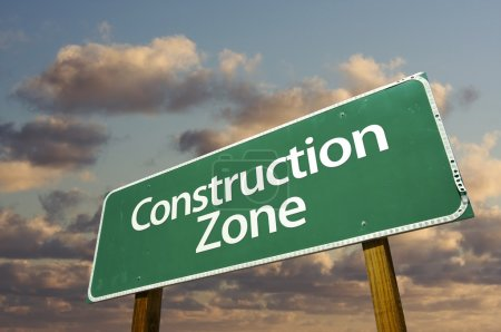 Construction Zone Green Road Sign In Fro