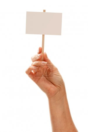 Photo pour Femme tenant le panneau blanc blanc, isolé sur fond blanc - prêt pour votre propre message. - image libre de droit