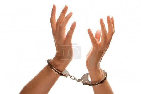 Handcuffed Woman Desperately Reaching