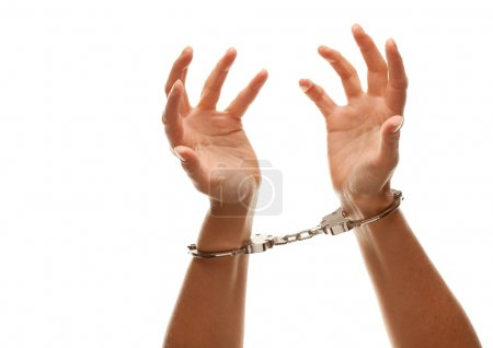 Handcuffed Woman Desperately Raising Hands in Air ...