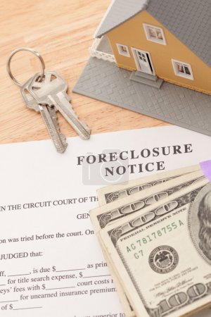 Foreclosure Notice, Home, House Keys and Stack of ...