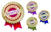 Four Colorful Emblem Seals With Ribbon