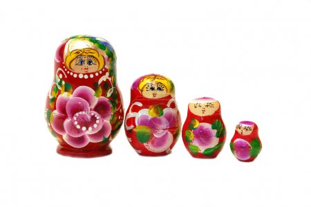 Row of four Russian dolls