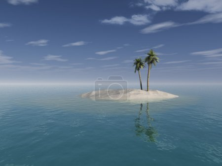 Photo for Tropical desert island. Photo-realistic computer generated illustration of a small desert island with coconut palm trees. Scene associated with relaxing, holida - Royalty Free Image