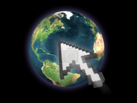 Photo pour Rendu généré par ordinateur d'un gros curseur de souris dans l'espace se dirigeant vers la terre. Pourrait être utilisé dans un contexte Internet ou technologique générale . - image libre de droit