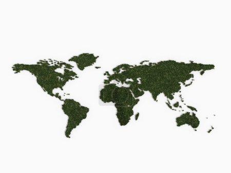 Photo pour Illustration d'une carte du monde composée de différents arbres. La taille des arbres est beaucoup plus grande que l'échelle du monde réel, de sorte que l'image peut ne pas convenir à la situatio - image libre de droit
