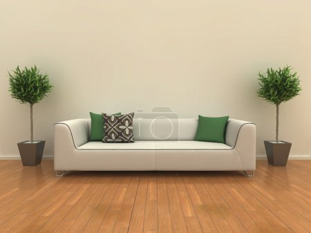 Photo for Illustration of a sofa on a shiny wooden floor with a plant either side. - Royalty Free Image