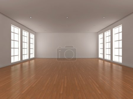 Photo for 3d illustration of a large, bright, empty room with windows either side. - Royalty Free Image