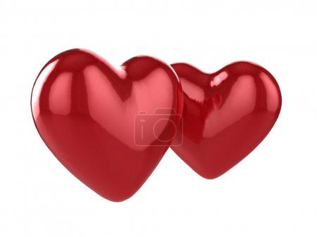 Glossy 3d hearts