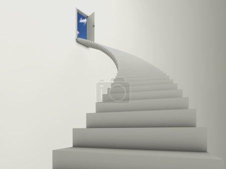 Photo pour Illustration d'un long escalier menant à une porte ouverte, avec ciel bleu et nuages derrière . - image libre de droit
