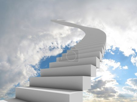 Photo for Illustration of a long, winding stairway leading to the clouds. Could represent a career, success, a journey, or going to heaven. - Royalty Free Image