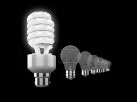 Photo pour Illustration réaliste d'une rangée d'ampoules, le plus proche de la caméra est une ampoule à économie d'énergie lumineuse, les autres sont des ampoules à l'ancienne. Pourrait être utilisé pour r - image libre de droit