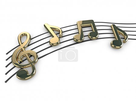 Photo for High quality illustration of gold musical notes and a treble clef symbol - Royalty Free Image